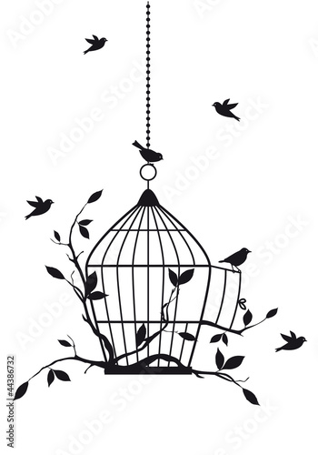 Papiers peints Oiseaux en cage free birds with open birdcage, vector