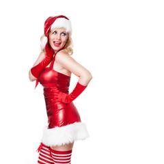 überraschte junge Weihnachtsfrau