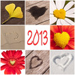 2013, collage coeurs nature