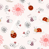 Sweet babies doodle hand draw seamless pattern.