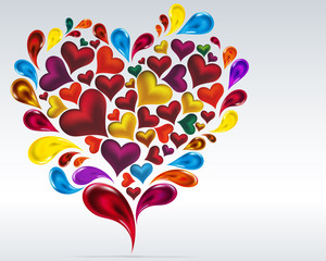 Card hearts design. Abstract background.