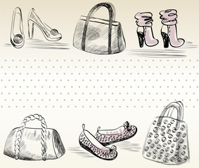Fashion  shoes and bags. Hand drawn illustration.
