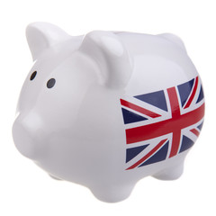 White piggy bank with union jack flag,  isolated on white.