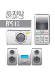 household appliances. vector icon set