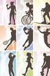 Sport silhouette labels