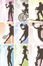 étiquettes silhouette de sport