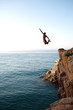 cliff jumping in the sea