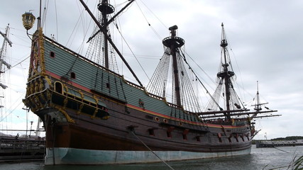 Dutch historic ship in harbor, side view