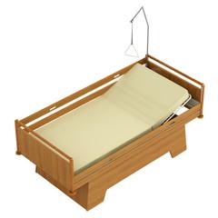 Wooden mobile hospital bed