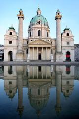 baroque Karlskirche Church in Vienna, Austria