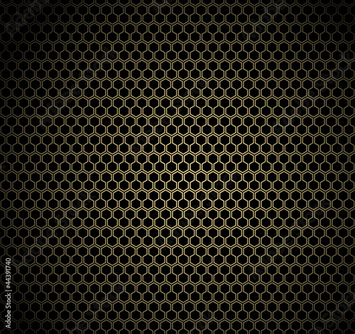 Gold honeycomb on black background