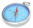 Compass. Blue Metal Compass on white background.