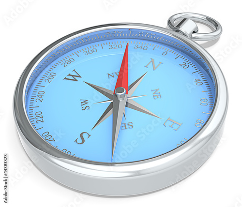 Leinwandbild Motiv Compass. Blue Metal Compass on white background.