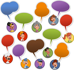 Group of cartoon business people faces with speech balloon icons