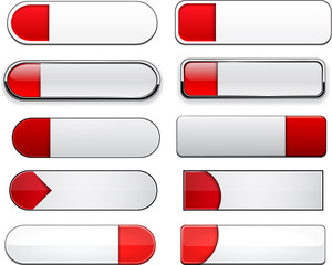 Red and white high-detailed web buttons.
