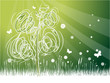 Green background on ecology theme with tree