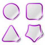 Blank stickers with violet frame isolated on white.