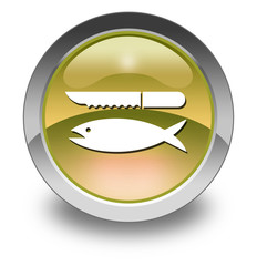 "Yellow Glossy Pictogram ""Fish Cleaning"""