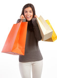 young woman with shopping bags on a white background