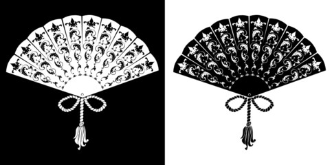 Fan - vintage illustration - silhouettes