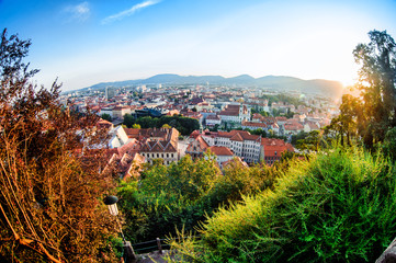 View of Graz city from Schlossberg in summertime. Austria
