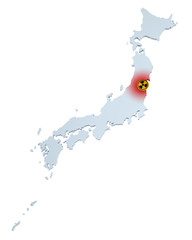 Map of Japan with sign of radioactive contamination