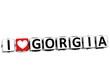 3D I Love Gorgia Button Click Here Block Text