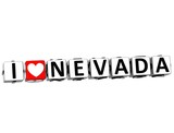 3D I Love Nevada Button Click Here Block Text