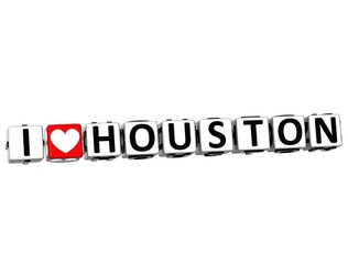 3D I Love Houston Button Click Here Block Text
