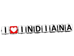 3D I Love Indiana Button Click Here Block Text
