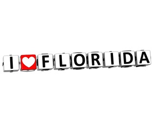 3D I Love Florida Button Click Here Block Text