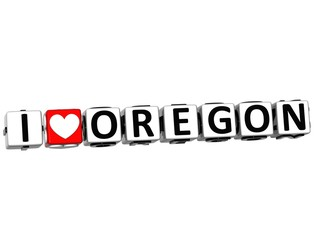 3D I Love Oregon Button Click Here Block Text