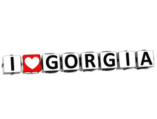 3D I Love Gorgia Button Click Here Block Text