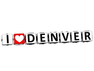 3D I Love Denver Button Click Here Block Text