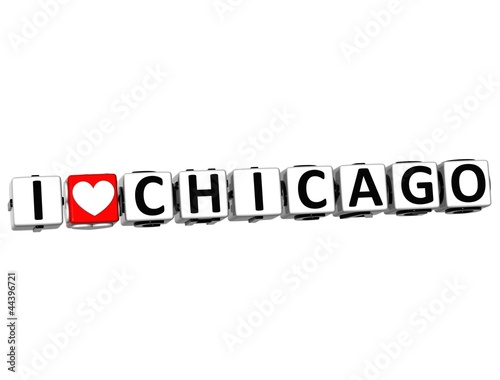 3D I Love Chicago Button Click Here Block Text