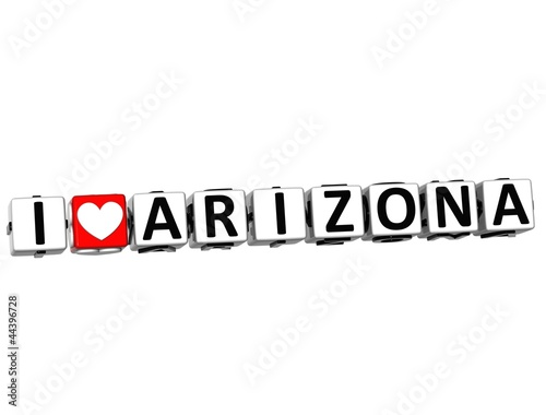 3D I Love Arizona Button Click Here Block Text