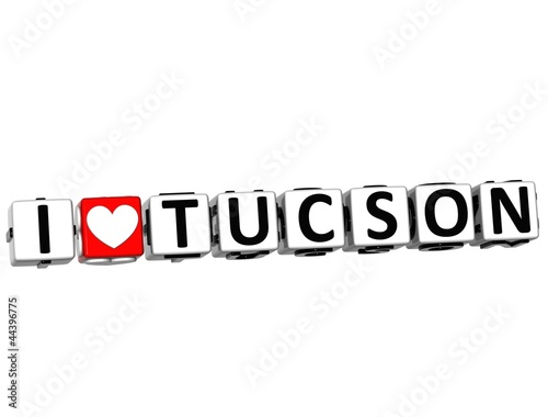3D I Love Tucson Button Click Here Block Text