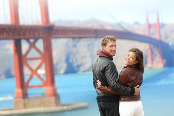 Golden gate bridge happy travel couple