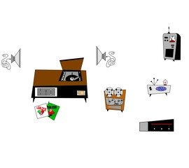 retro electronics clipart elements
