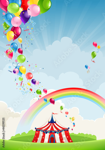 Circus, rainbow and balloons