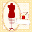 Tailor's Model, thread, sewing label, copy space, pattern frame