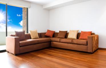 Living room with big sofa - interior design