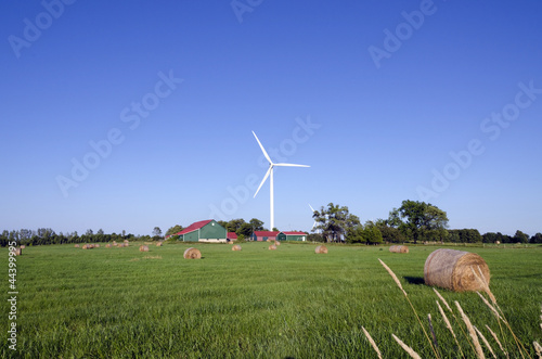Wind turbine and hay bails