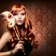 Beautiful Woman with the Carnival mask