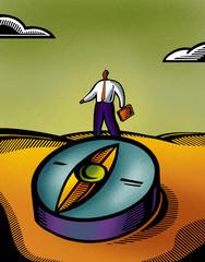 A business man stepping onto a compass