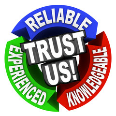 Trust Us Circle Words Reliable Experienced Knowledgeable