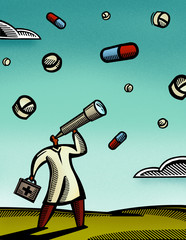 Doctor looking through a telescope at pills falling from the sky