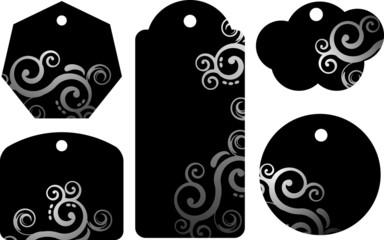 Etichetta nera con decorazione