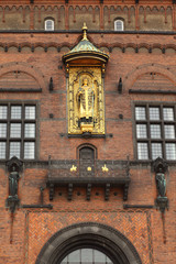 Detail of facade of Copenhagen City Hall in Copenhagen, Denmark.