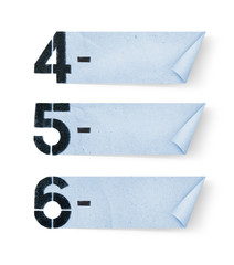 4, 5, 6, - Number paper and paper banners isolated on white back